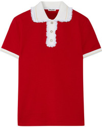 Miu Miu Lace Trimmed Cotton Piqu Polo Shirt Red