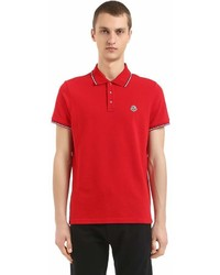 Moncler Logo Stripes Cotton Piqu Polo Shirt