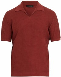 Ermenegildo Zegna Open Collar Waffle Knit Cotton Polo Shirt