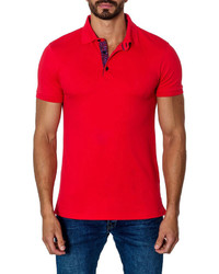 Jared Lang Short Sleeve Cotton Blend Polo Shirt Red