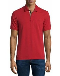 Burberry Short Sleeve Oxford Polo Shirt Military Red