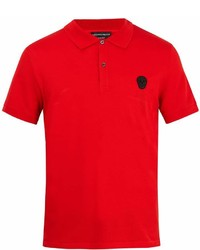 Alexander McQueen Skull Appliqu Cotton Piqu Polo Shirt