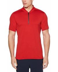 Perry Ellis Solid Tech Mesh Stretch Quarter Zip Short Sleeve Polo Shirt
