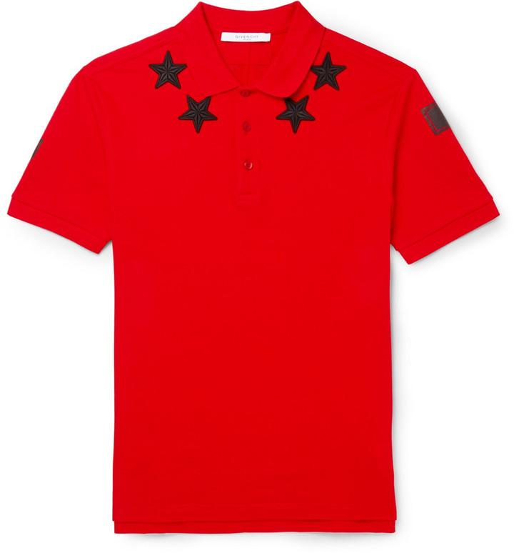 39ebb1d7d Givenchy Star Appliqu Cotton Piqu Polo Shirt