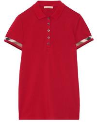 Burberry Stretch Cotton Piqu Polo Shirt Claret