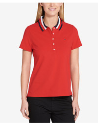 Tommy Hilfiger Striped Collar Polo Top Created For Macys