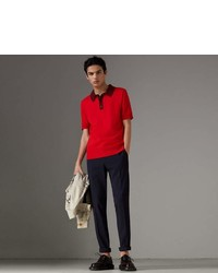 Burberry Two Tone Knitted Cotton Polo Shirt