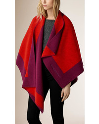 Burberry Border Detail Wool Cashmere Poncho