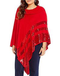 Allison Daley Plus Cowl Neck Poncho With Sequins