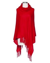 Sylvia Alexander Cowl Neck Ribbed Poncho Assorted Colors