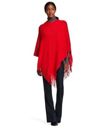 Sylvia Alexander Sweater Rib Knit Poncho Wrap