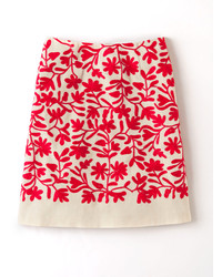 Red Print A-Line Skirt