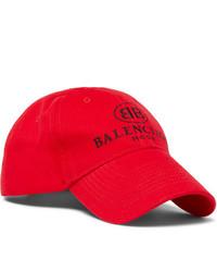Balenciaga Logo Embroidered Cotton Baseball Cap