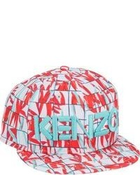 Kenzo New Era Graph Check And Palm Leaf Print Fitted Baseball Cap Red