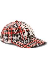 Gucci New York Yankees Appliqud Checked Wool Blend Tweed Baseball Cap