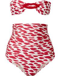 Adriana Degreas Bacio Embellished Ruched Printed Bandeau Bikini