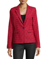 Geometric print one button blazer navyred medium 174205