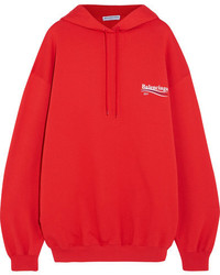 Balenciaga Oversized Printed Cotton Jersey Hooded Top Red