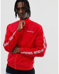 Calvin Klein Jeans Side Logo Nylon Track Jacket In Red