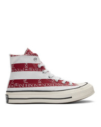 JW Anderson Indigo And Red Converse Edition Grid Logo Chuck 70 Hi Archive Print Sneakers