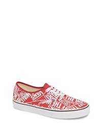 Red Print Canvas Low Top Sneakers