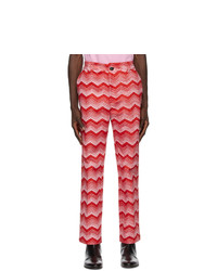 SSENSE WORKS Jeremy O Harris Red And Pink Print Cropped Trousers