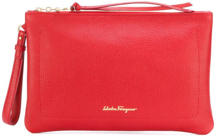 ... Red Print Clutches Salvatore Ferragamo Logo Printed Clutch Bag ... 55c61d0f6d73e