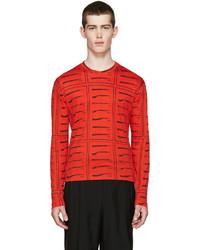 Red Print Crew-neck Sweater