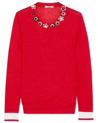 Embellished cashmere and silk blend sweater red medium 3640150