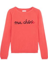 Ma chrie printed cashmere sweater coral medium 4393652