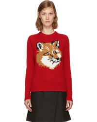 Maison kitsun red lurex fox head sweater medium 5218997