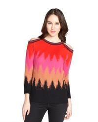 M Missoni Pink Zigzag Print Cotton Blend Cutout Shoulder Sweater