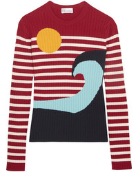 RED Valentino Redvalentino Intarsia Ribbed Knit Sweater