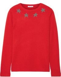 Star spangle metallic intarsia cashmere blend sweater red medium 3640149
