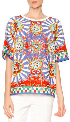 Dolce & Gabbana Carretto Print Short Sleeve T Shirt Redyellowblue