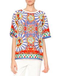 Dolce & Gabbana Carretto Print Short Sleeve T Shirt Redyellowblue