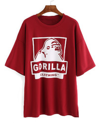 Dropped Shoulder Seam Letter Print T Shirt