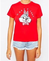 Lazy Oaf Cropped T Shirt With Happy Crap Bunny Print