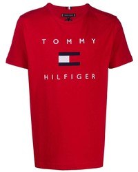 Tommy Hilfiger Logo Print Crew Neck T Shirt