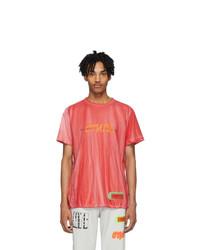 Heron Preston Red Tie Dye Spray Style T Shirt