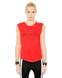 Balmain Sleeveless Logo Printed Cotton T Shirt