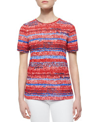 Tory Burch Short Sleeve Knit Print Jersey Tee Brilliant Red
