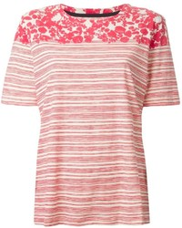 Tory Burch Striped Leaf Print T Shirt