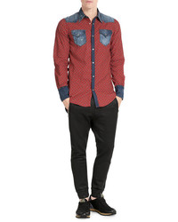 DSQUARED2 Printed Cotton Shirt With Denim