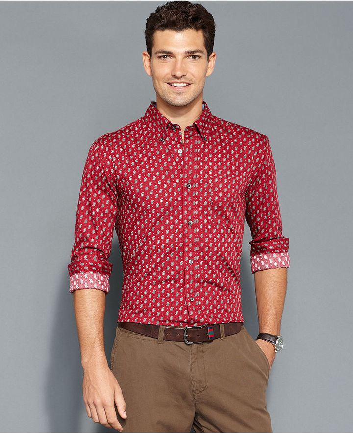 Red print dress shirt tommy hilfiger shirt slim fit for Where to buy a dress shirt