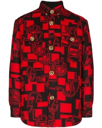 Red Print Flannel Long Sleeve Shirt