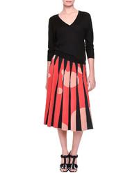 Bottega Veneta Inverted Pleat Bubble Print Midi Skirt Blackredorange