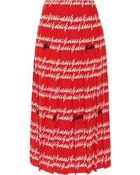 Gucci Pleated Printed Silk Midi Skirt Red