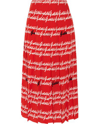 Pleated printed silk midi skirt red medium 577548