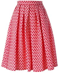 Ultrchic Heart Print Full Skirt